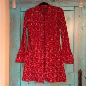 RARE Vintage Free People Red Floral Button Dress